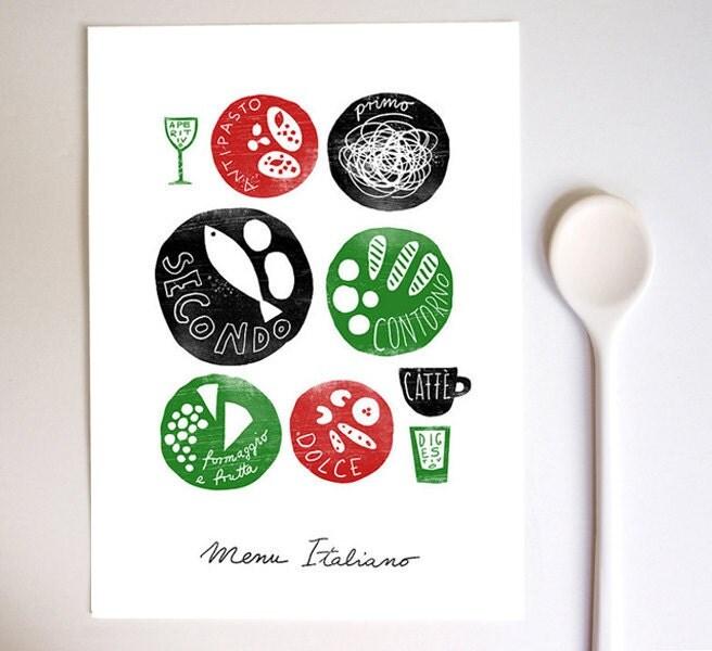 Menu italiano 11x15 italian food kitchen art for Artistic cuisine menu