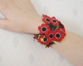 Hand Crocheted Red Poppies Bracelet Hairband, Wristband, Scarf dreamt fresht teamspirit teamdiscovery