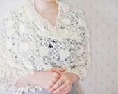 Cream Flowered Crochet Bridal Shawl. Chic Bridal Wrap
