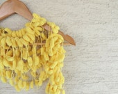 Yellow Curly Mulberry Long Scarf - Soft POMPOM Scarf sunshine, neckwarmer, cowl, necktie, mom, spring summer etsyeuro euroweeksale accessories, modern dreamt