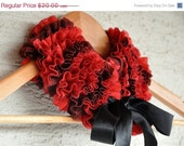 ON SALE Red Ruffle Scarf Collar Cowl Neckwarmer for 4 Seasons dreamt fresht teamspirit holiday gift for her