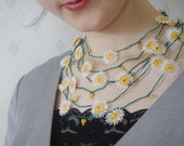 Flowered Necklace for Weddings, Brides and Bridesmaids Lace Daisy
