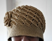 Rustic Ecru Tan Crochet Hat with Big Flower for Women Adult Teen