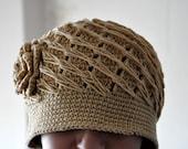 Rustic Ecru Tan Crochet Hat with Big Flower for Women Adult Teen