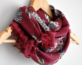 Floral Fabric Scarf with Turkish Lace - Neckwarmer, cowl, necktie