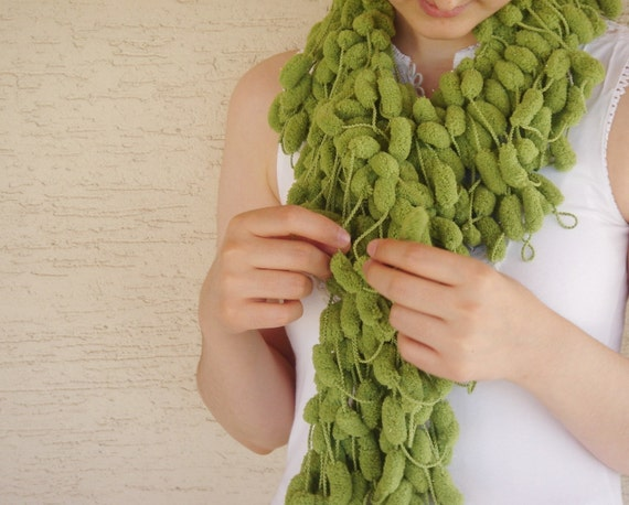 Green Curly Mulberry Long Scarf, Soft Green POMPOM Scarf  neckwarmer, cowl, necktie, mom, winter accessories, modern