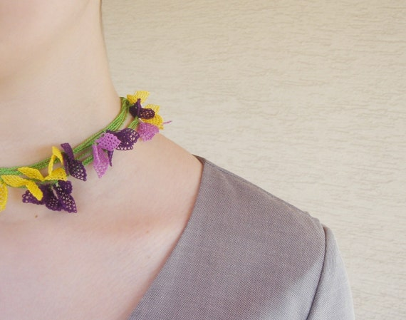 Needle Lace Colorful Necklace Bracelet -  Purple Lilac Yellow Green Oya