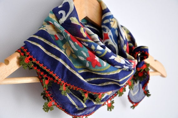 Multicolor Floral Needle Lacework Cotton Scarf Shawl