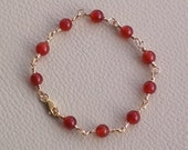 Free Shipping -Red Carnelian and Square Gold Filled Wire Bracelet