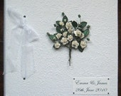 Personalised White Rose Wedding Album