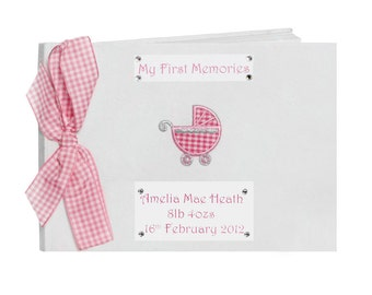 Personalised New Baby Girl Memory Book