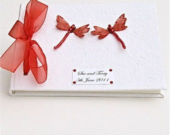 Wedding Guest Book - Red Dragonflies