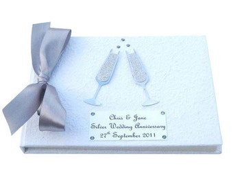 Champagne Wedding Guest book or Anniversary Book