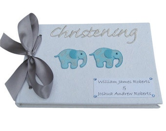 Personalised Twin Boy Christening Guest Book