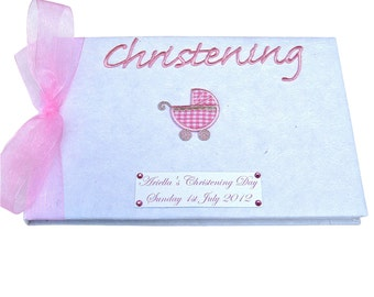 Personalised Baby Girl's Pram Christening Guest Book
