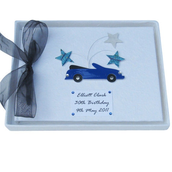 Personalised 18th Birthday Party Guest Book - Blue Car