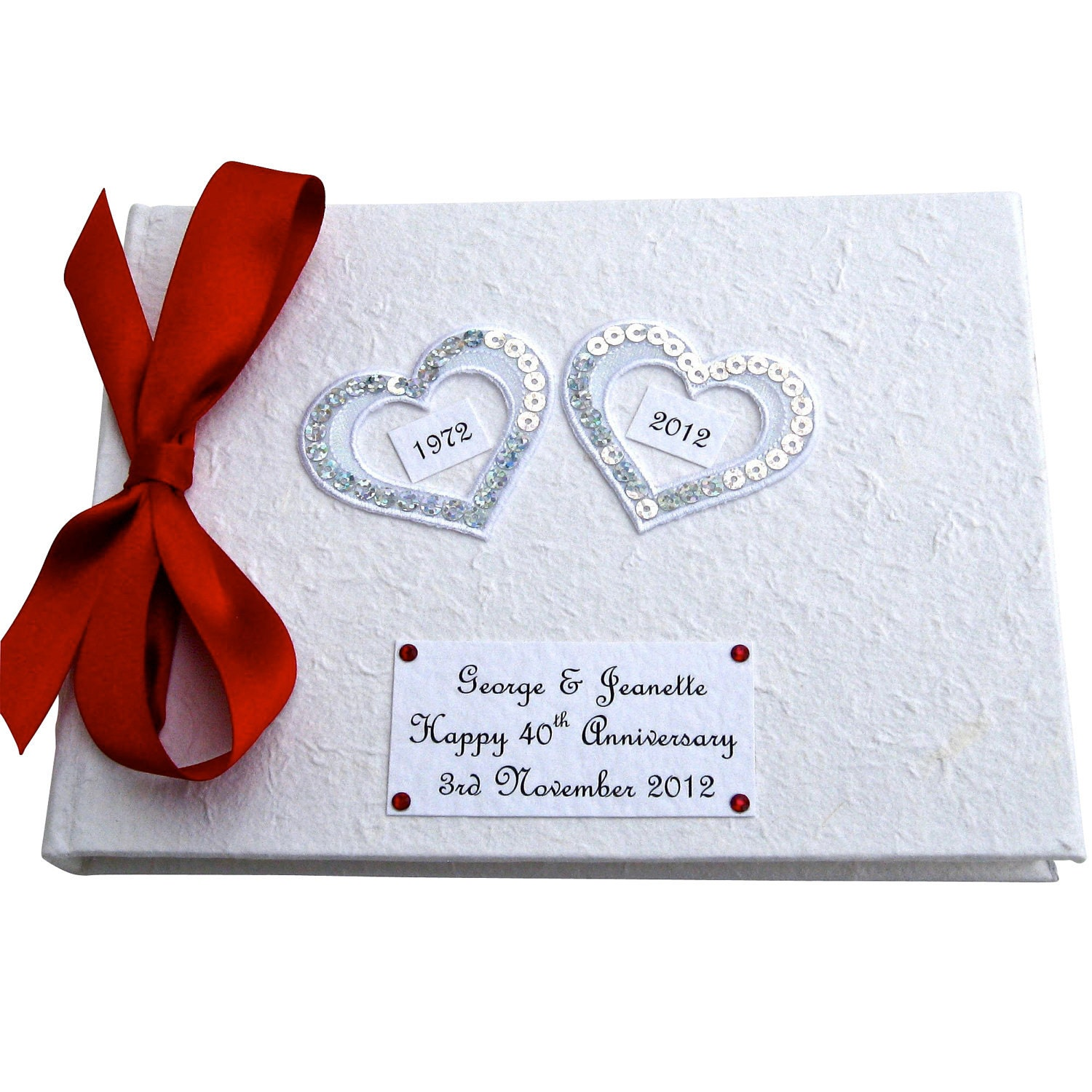 Alternative 40th Wedding Anniversary Gifts : Custom Hearts 40th Anniversary Guest Book