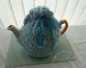 tea cosy cosie blue hand knitted  uk seller