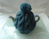 hand knitted tea cosy cosie  teal cable wool uk seller