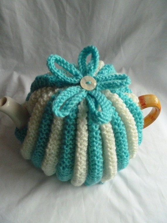 hand knitted tea cosy/cosie aqua and cream wool uk seller cij sale for 10% off
