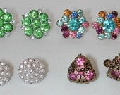 NICE colorful lot of 8 pairs vintage rhinestone earrings - all screw backs