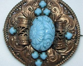 GORGEOUS transitional \/ art deco brass filigree and faux turquoise brooch