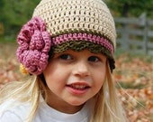 Tan, dark olive, rose crochet hat with rose and yellow flowers - made in any size