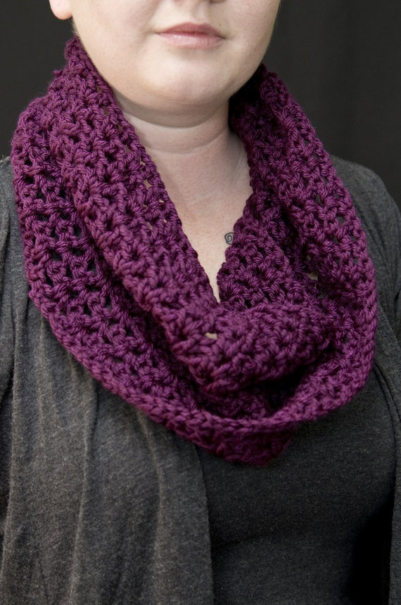 Purple Crochet Cowl/Mobius - Benefiting CHOICES: Eliminating Domestic Violence