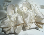 Baby Ballet Shoes, Toddler Ballet Flats, Ivory Lace, Pearl Elegance, Flower Girl Shoes, Christening Shoes, Bobka Shoes by BobkaBaby