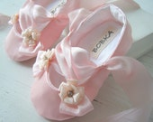 Pink Satin Ballet Slipper, Baby Girl Shoes, 'Rosalinde', Toddler Ballet Flats, Flower Girl Shoes, Bobka Shoes by BobkaBaby