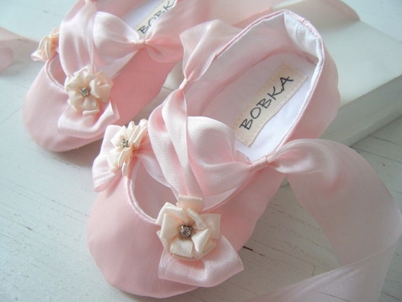 Items similar to Pink Satin Ballet Slipper Baby Girl