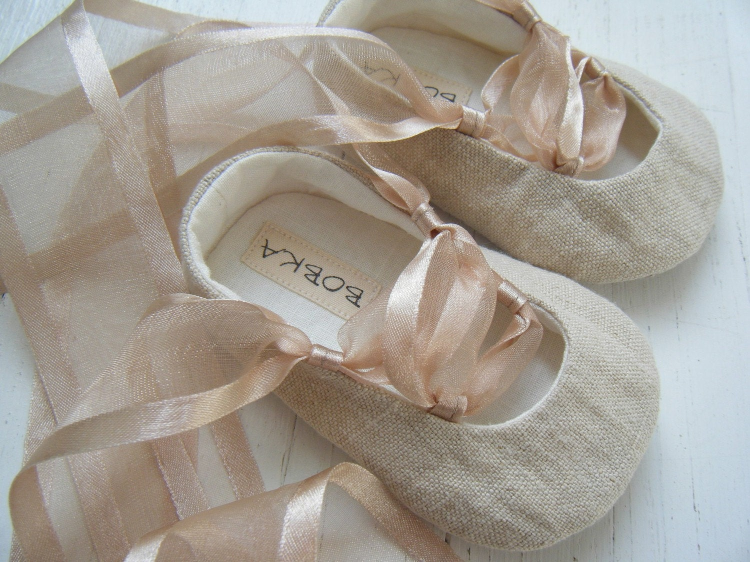 Organic Beige Hemp Linen Ballet Shoe For Your Baby