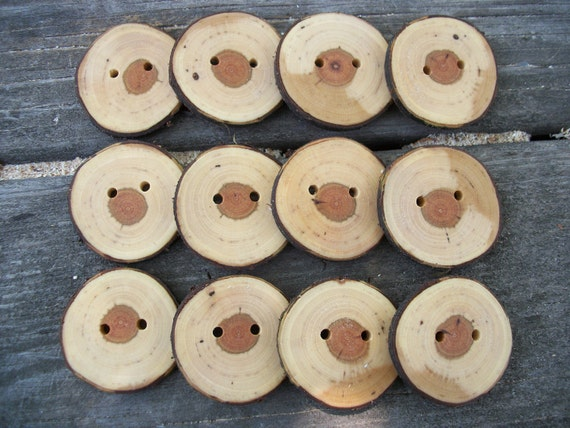 12 Handmade Cherry Wood Buttons.  1.75 Inches Wide