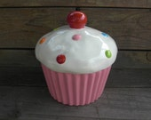 Custom Cupcake Cookie Jar or Canister - Medium - Pick your colors - Made to Order