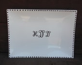 Custom Wedding Signature Guestbook Platter - Personalized with Monogram Initials and Dot Border