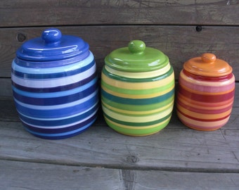 Custom Set of 3 Kitchen Canisters - Pick your Colors and Patterns - XL, L, M - Rainbow Stripes - Colorful Storage Jars
