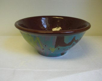 Marble Swirled Ceramic Berry Bowl in Fun Funky Colors - Sale
