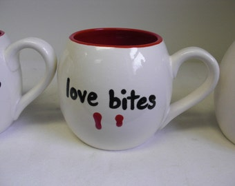 Vampire Bite Mug - Love Bites - Large Ceramic Mug in Red and White - Anti Valentine's Day - Sale