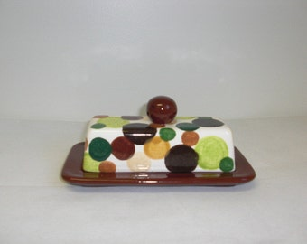 Earth Tones Polka Dots Ceramic Butter Dish with Knob - Chocolate Brown Base - Single Size - Sale