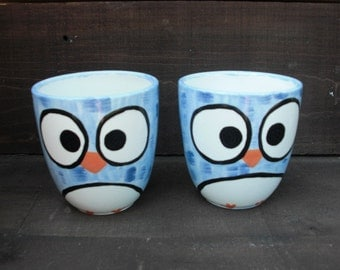 Whimsy Owl Ceramic Mug - Handpainted in Shades of Blue - Large Coffee House Mug