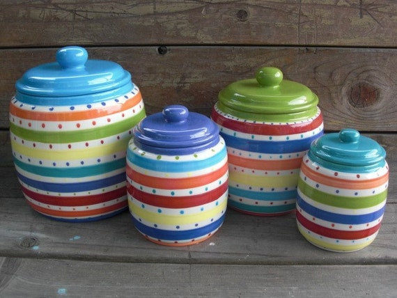 Set of 4 Bright Stripes and Dots Ceramic Canister Set