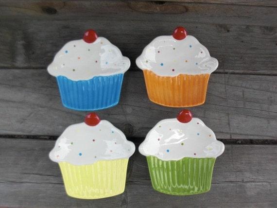 Bright Cupcake Ceramic Dessert Plate or Trinket Dish