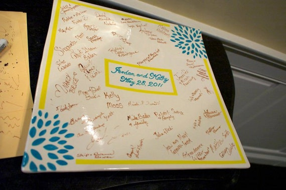 Custom Wedding Signature Guestbook Platter - Personalized with Flowers - Teal and Yellow
