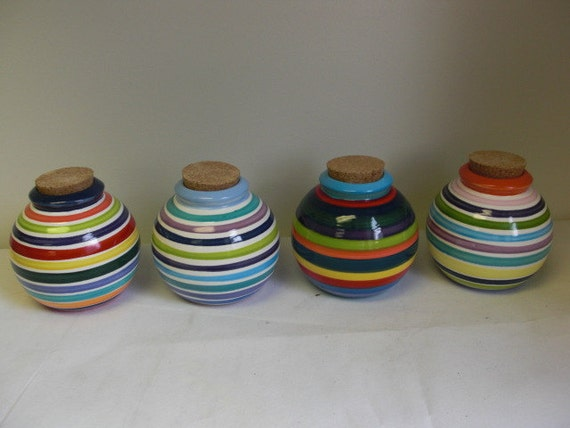 Hand Painted Rainbow and White Striped Ceramic Jar with Cork Lid - Navy Interior