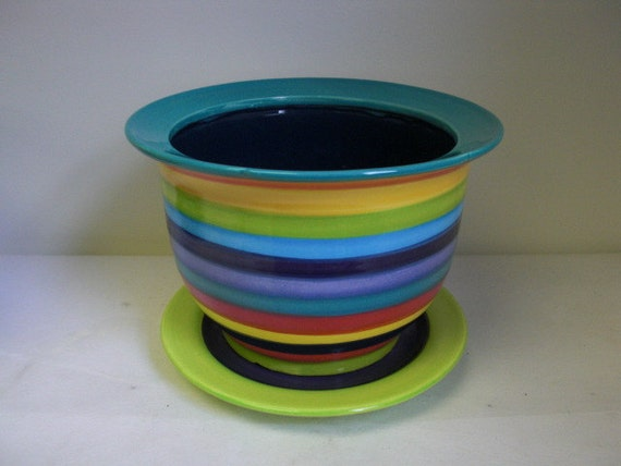 Large Ceramic Flower Pot with Drip in Bright Rainbow Colored Stripes with Navy Blue and Teal