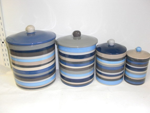 Set Of 4 Neutral Shades Striped Ceramic Canister Set By
