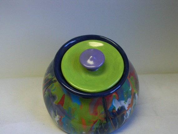 Hand Painted Leaning Ceramic Cookie Jar or Canister - Rainbow Marbeled Swirls