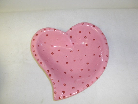 RESERVED for Tom - Valentine's Day  Pink and Polka Dots Ceramic Swirl Heart Candy Bowl