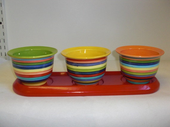4 Piece Ceramic Herb Planter Flower Pot in Bright Rainbow Stripes with Red Tray
