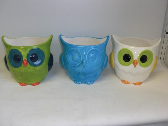Whimsical Ceramic Owl Planter or Utensil Holder - Hand Painted - Solid Aqua Blue
